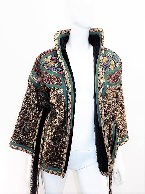 Koos Van Den Akker rare evening sequin gold brocade smoking jacket coat 7