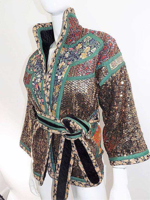Koos Van Den Akker rare evening sequin gold brocade smoking jacket coat 2