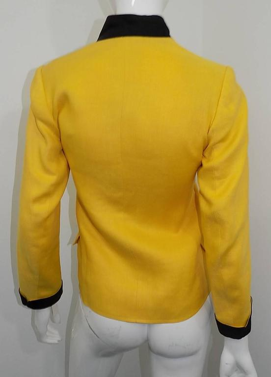 Yves Saint Laurent Yellow Vintage  Jacket with YSL Buttons sz 4 In Excellent Condition For Sale In New York, NY