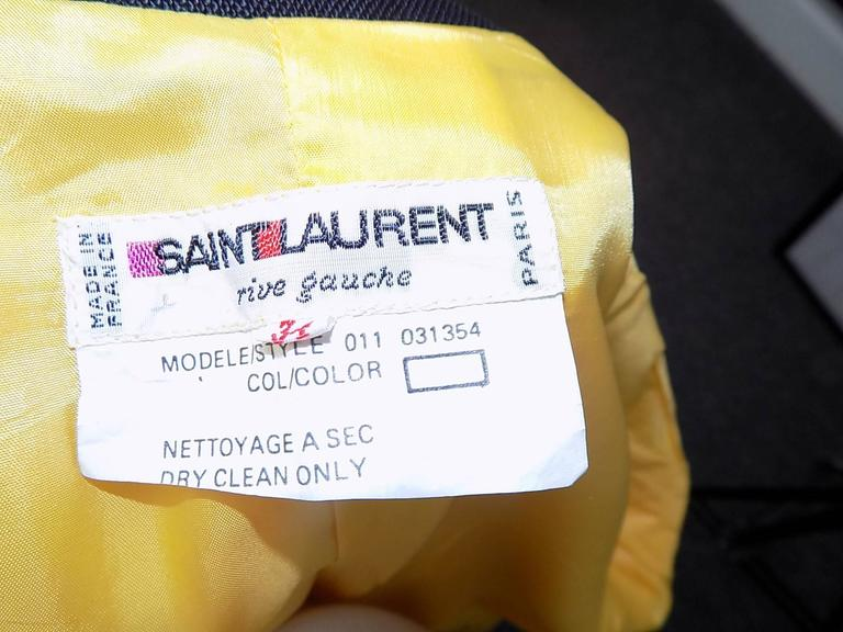 Yves Saint Laurent Yellow Vintage  Jacket with YSL Buttons sz 4 For Sale 1