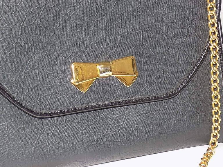 Nina Ricci black coated canvaswith gold chain bag / clutch 2