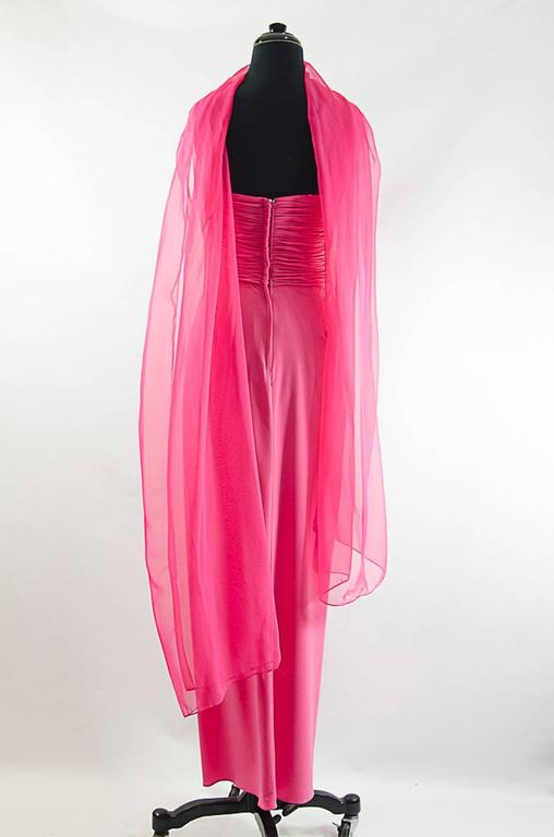 Victor Costa Beautiful Hollywood  glamor strapless pink gown with long shawl 3