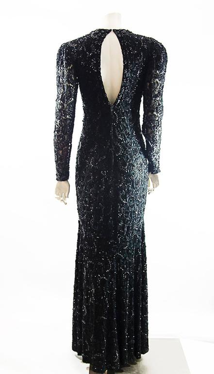 Black All beaded mermaid   evening gown For Sale