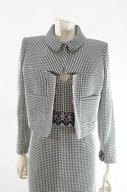 Gray Christian Lacroix  short jacket and Dress ensemble sz 42 For Sale