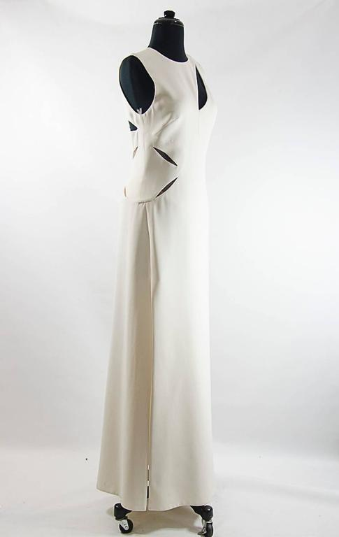 Gray Versace Assymetrical Cutout ivory  gown For Sale