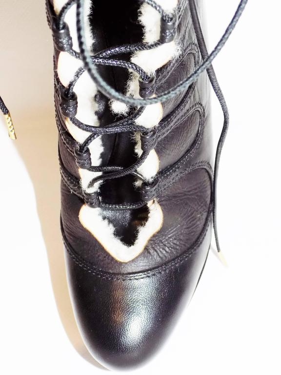 Alexander McQueen Leather Shearling Lace Up Platform  Boots  sz 36 5