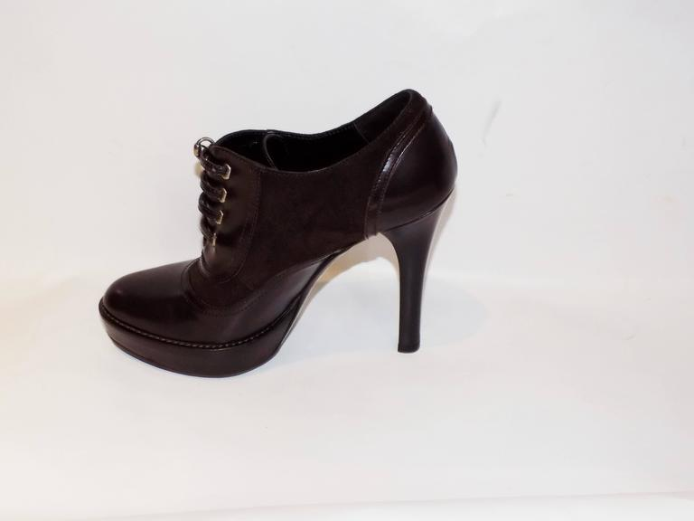gucci brown leather shoe boots lace up platform high heel