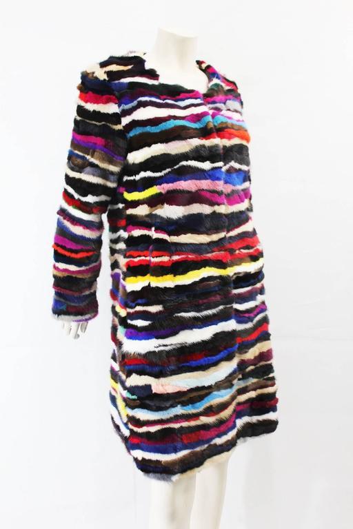 Richard Meyerson Multi color pieced mink fur coat. Hot for the season!! 3