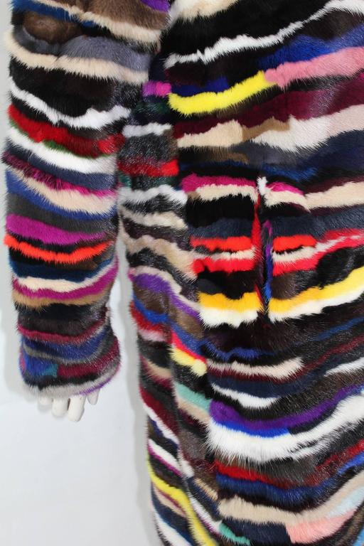 Richard Meyerson Multi color pieced mink fur coat. Hot for the season!! 4