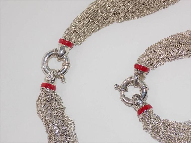 Tiffany Heart Bracelet >> Rare Vintage Tiffany and Co Sterling Silver Red Enamel Necklace and Bracelet set at 1stdibs