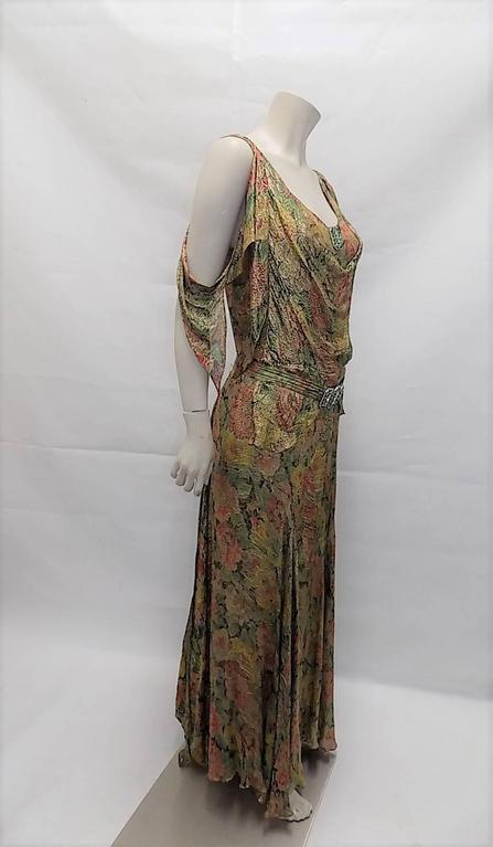 1930's  metallic brocade spectacular gown with crystal buckle belt 2