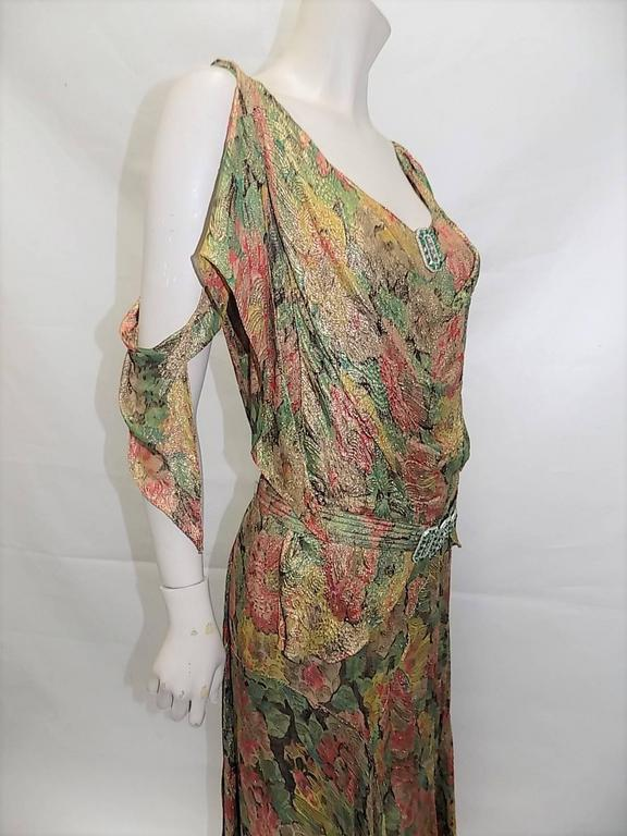 1930's  metallic brocade spectacular gown with crystal buckle belt 3