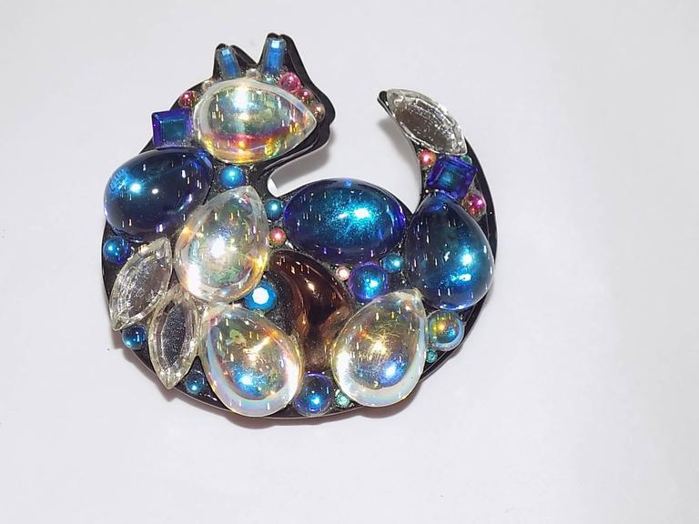 """Crystal Cat Pin - One of a Kind. Artist signed and dated. Never used. Beautiful colors.  created 1999 SIZE: 2 3/4"""" x 2 3/4"""""""