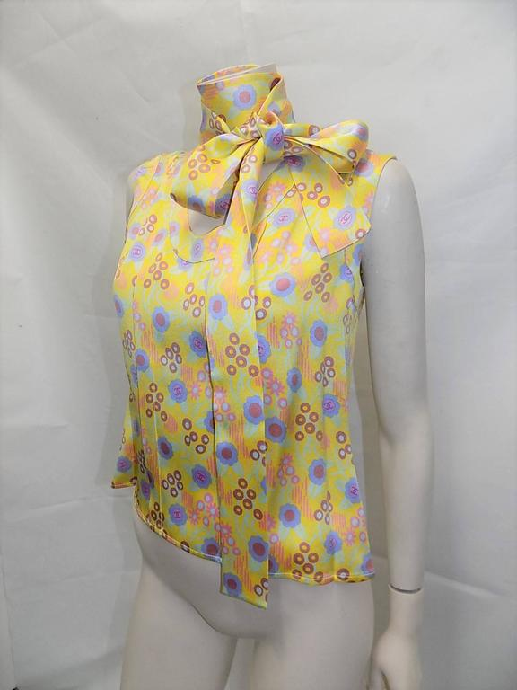 Chanel Silk logo top blouse with scarf sz 44 2
