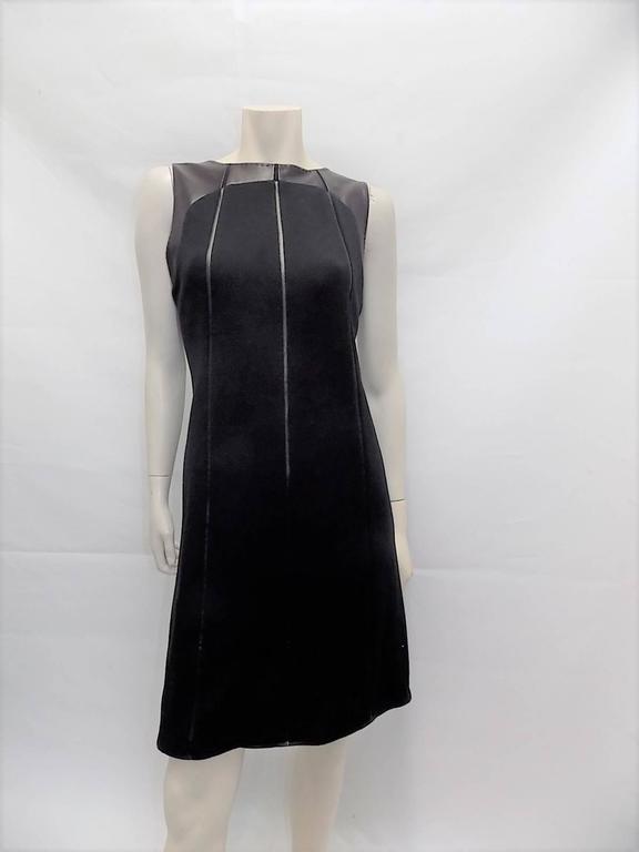 Ralph Rucci Chado Black Jersey dress with Leather Inserts Sz 12 3