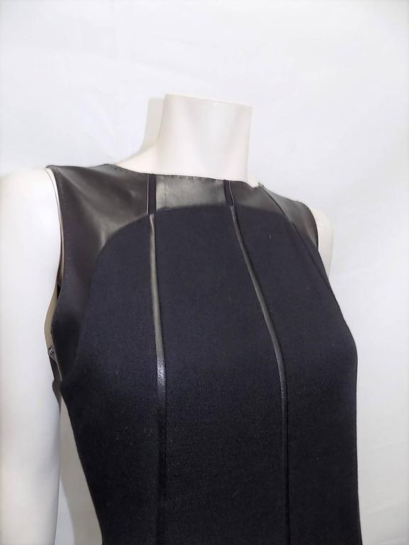 Ralph Rucci Chado Black Jersey dress with Leather Inserts Sz 12 2