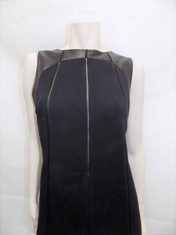 Ralph Rucci Chado Black Jersey dress with Leather Inserts Sz 12 4