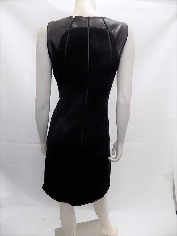 Ralph Rucci Chado Black Jersey dress with Leather Inserts Sz 12 5