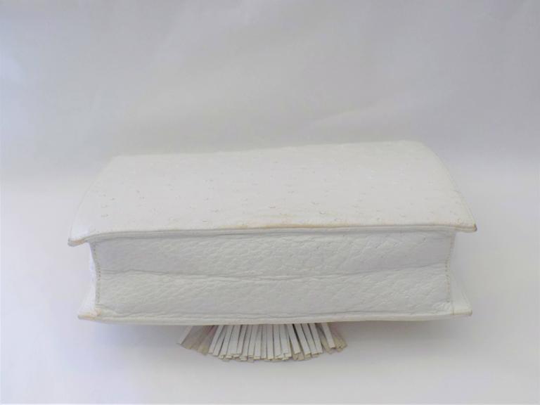 Gray SISO Vintage white ostrich envelope clutch  - shoulder bag For Sale