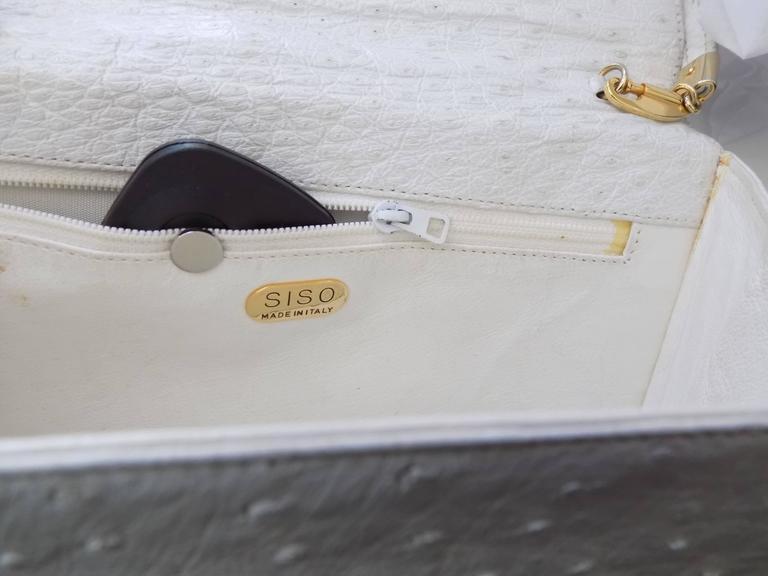 SISO Vintage white ostrich envelope clutch  - shoulder bag For Sale 2
