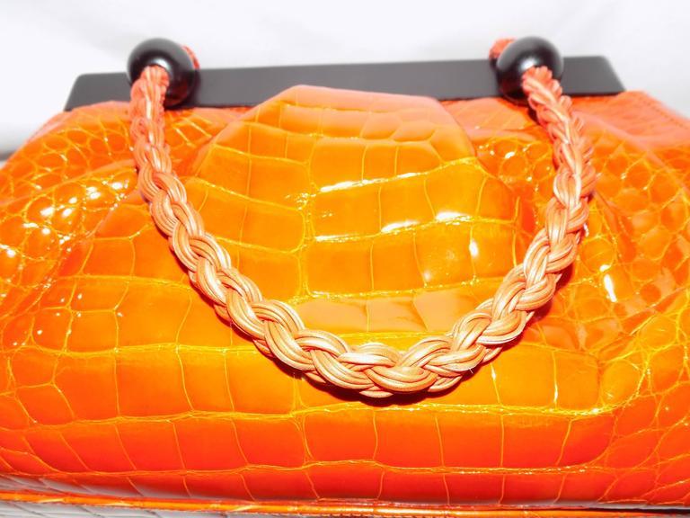 Luxury Suarez Alligator  bag with ebony frame . New! 5