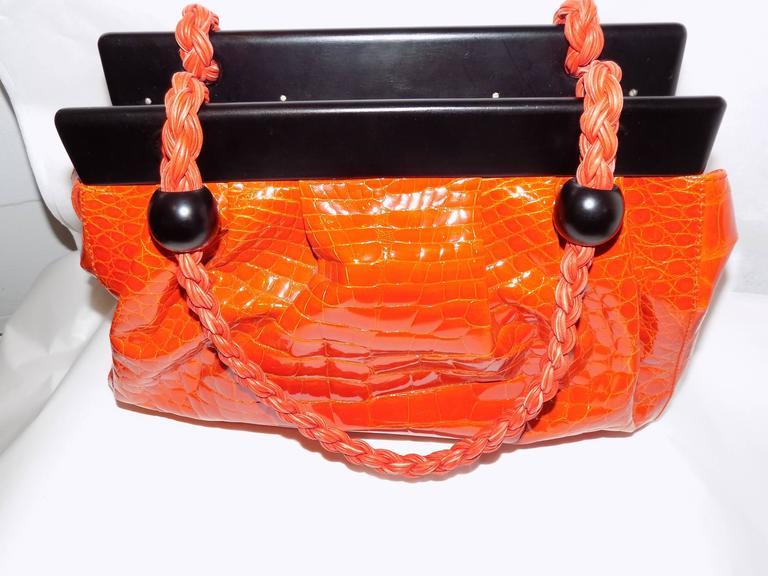 Luxury Suarez Alligator  bag with ebony frame . New! 3