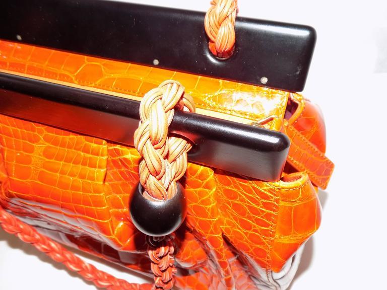 Luxury Suarez Alligator  bag with ebony frame . New! 9