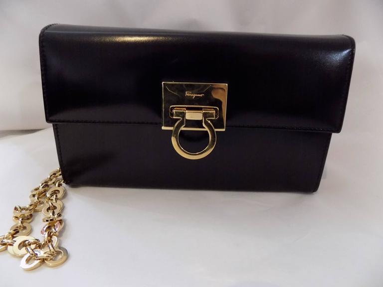 Salvatore Ferragamo Black Polished Clutch Shoulder Bag W