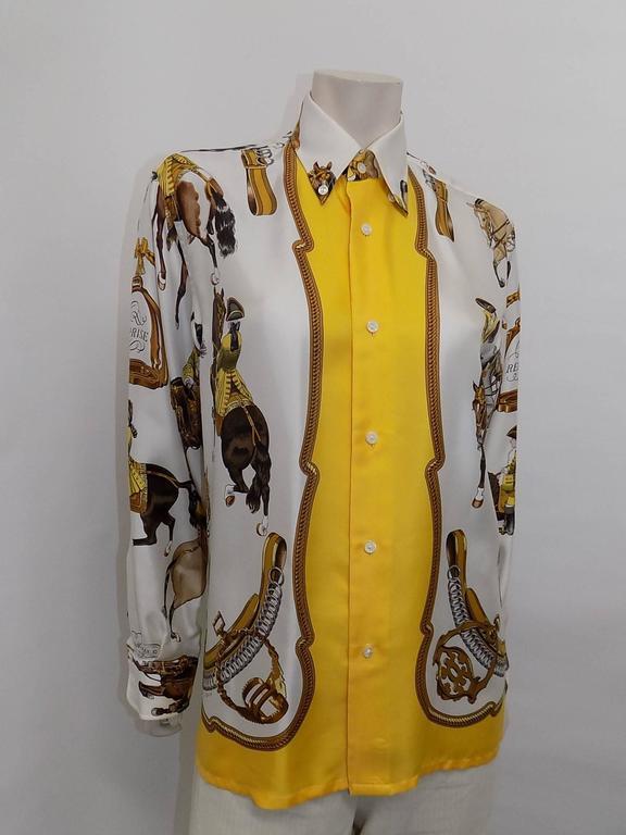 """Hermes vintage silk equestrian buttondown shirt blouse """"Reprise"""".for men 2"""