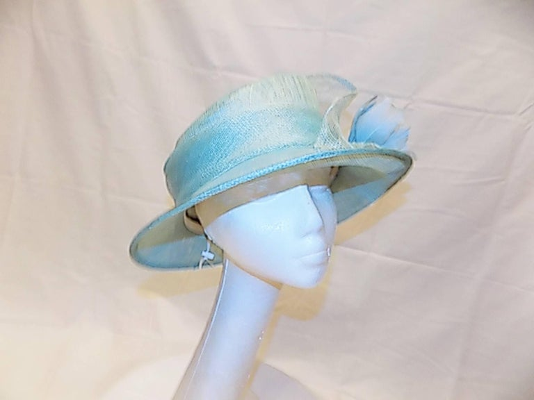 Light Blue Modern Couture summer Hat with flower In New Never_worn Condition For Sale In New York, NY