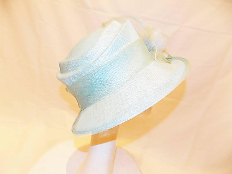 Women's Light Blue Modern Couture summer Hat with flower For Sale