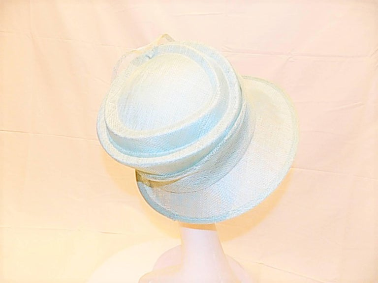Light Blue Modern Couture summer Hat with flower For Sale 1