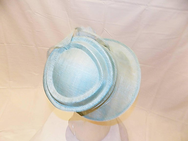 Light Blue Modern Couture summer Hat with flower For Sale 2