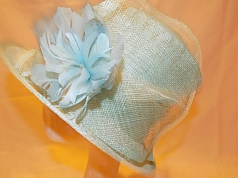 Light Blue Modern Couture summer Hat with flower For Sale 4