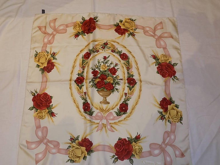 Women's Christian Dior Vintage silk floral scarf For Sale