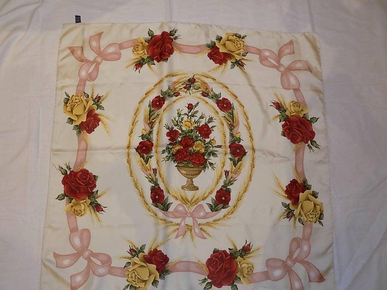 Christian Dior Vintage silk floral scarf For Sale 1