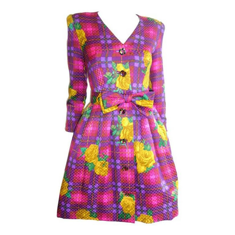 Stanley Platos floral print dress with crystals and bow