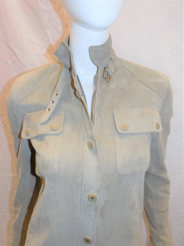 Ralph Lauren Black Label womans  Suede Leather Biker Jacket Coat  sz 2 For Sale 2