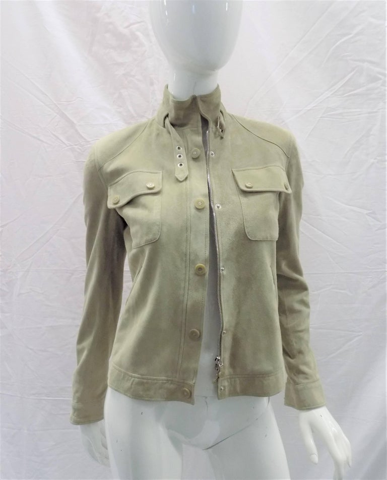 Fabulous and in like new condition Ralph Lauren Black Label woman  Suede Leather Biker Jacket Coat Small, Zip front with snaps. buckle at the neckline. Two top front pockets. Fully lines. Black label. Retail price around $2000. Size 2 Taupe