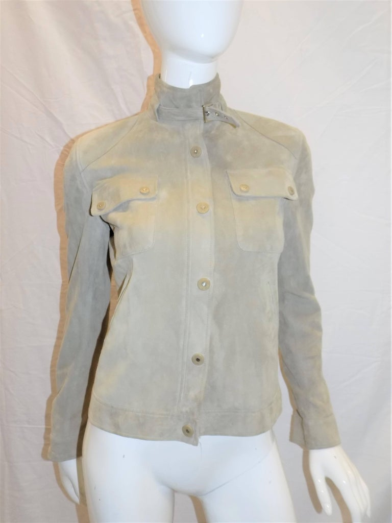 Ralph Lauren Black Label womans  Suede Leather Biker Jacket Coat  sz 2 In Excellent Condition For Sale In New York, NY