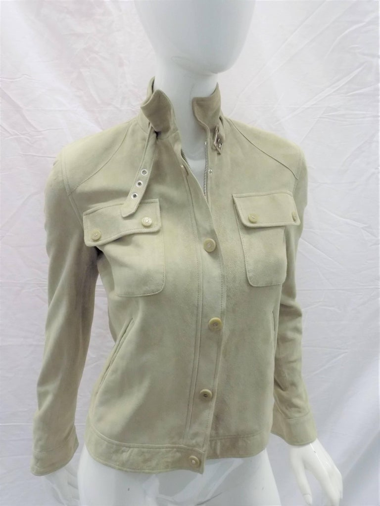 Ralph Lauren Black Label womans  Suede Leather Biker Jacket Coat  sz 2 For Sale 3