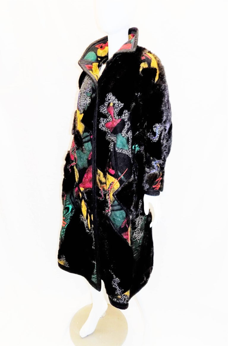 One of a kind Koos Van Den Akker Couture Mink and Patchwork Coat work of art!! In New Condition For Sale In New York, NY