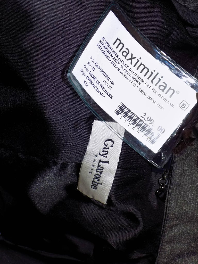 Guy Laroche for Maximilian Down Coat with Muskrat Fur Trim New with Tags For Sale 3