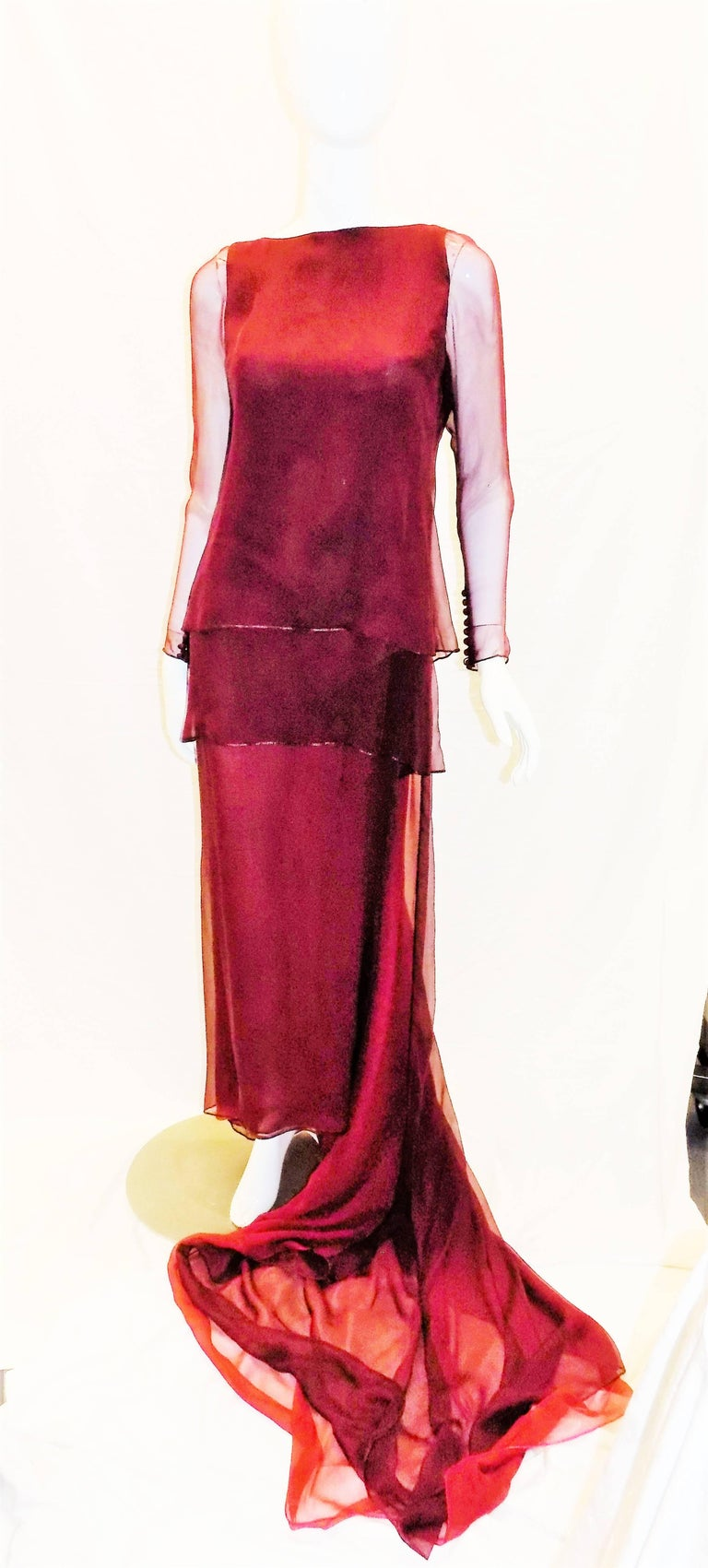 Red Chanel Haute Couture dark red  silk Gown with long train  For Sale
