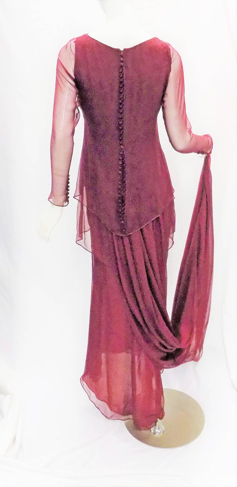 Women's Chanel Haute Couture dark red  silk Gown with long train  For Sale