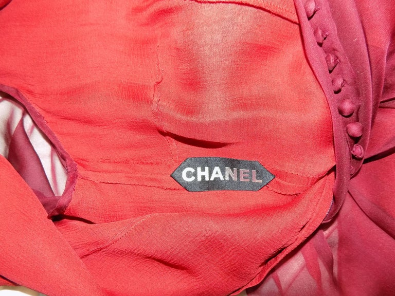 Chanel Haute Couture dark red  silk Gown with long train  For Sale 4