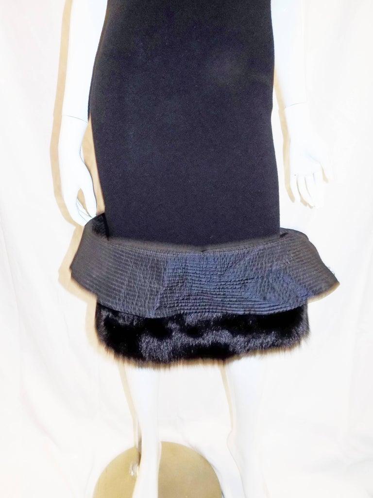 Black Gianfranco Ferre Vintage black knit cocktail dress with fox Fur trim For Sale