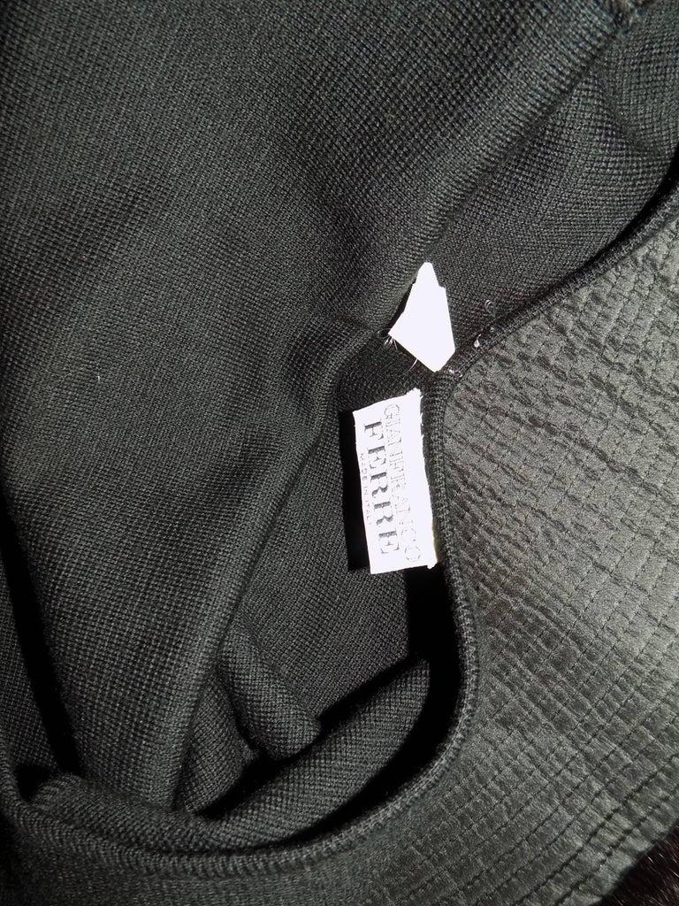 Gianfranco Ferre Vintage black knit cocktail dress with fox Fur trim For Sale 3