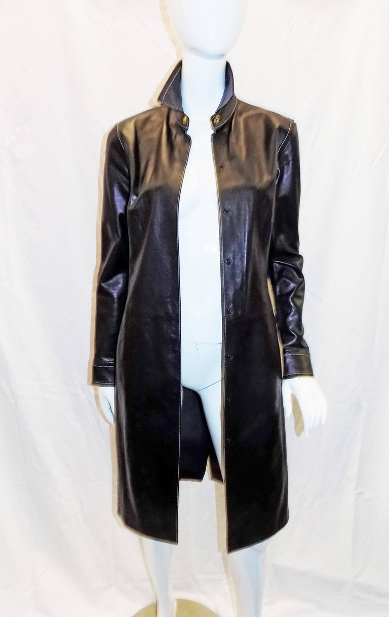 Coach black leather coat dress with tonal top stitch For Sale 2