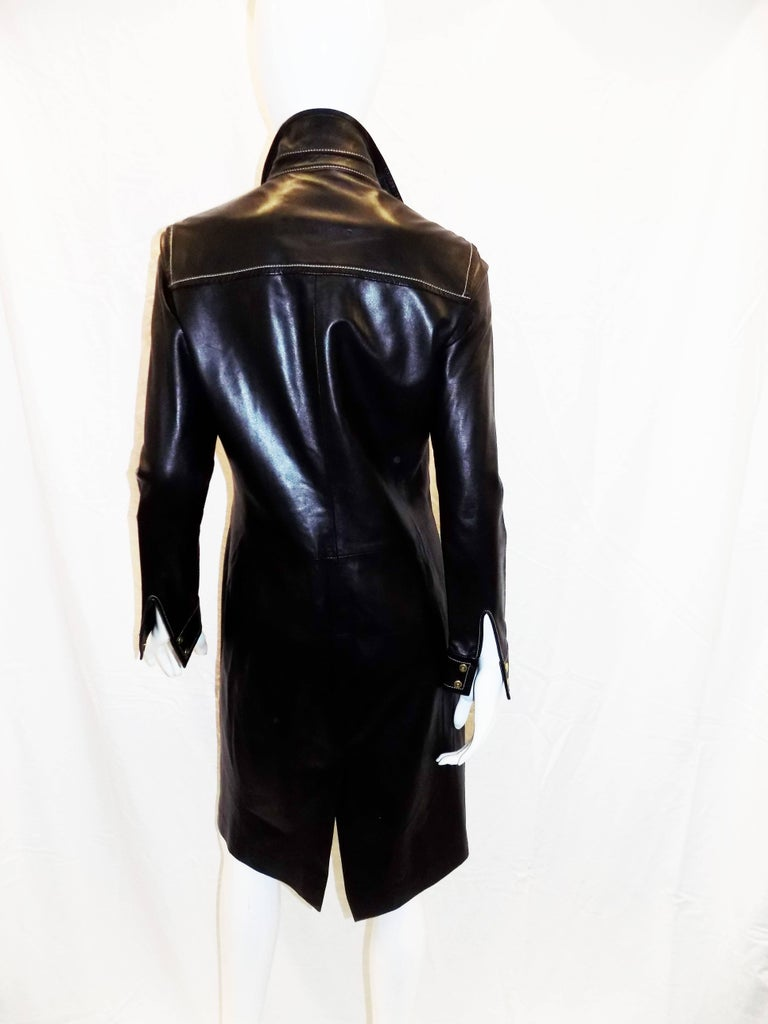 Women's Coach black leather coat dress with tonal top stitch For Sale